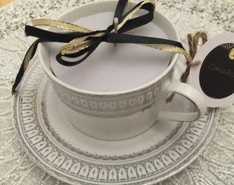 Silver vintage tea cup candle lavender