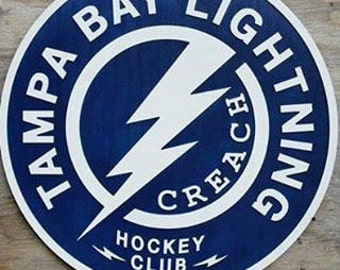 Tampa Bay Lightning Hockey Wooden Sign NHL Man Cave Decor