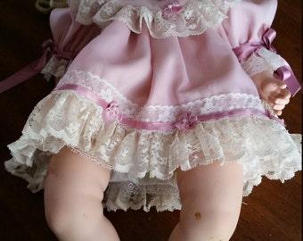 Reduced Dolls By Jerri 1991 Porcelain Blonde Doll in Pink Dress