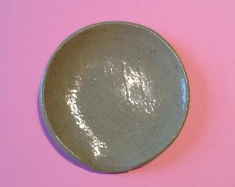 Green speckled glaze SPOON REST handmade pottery ceramics 11cm