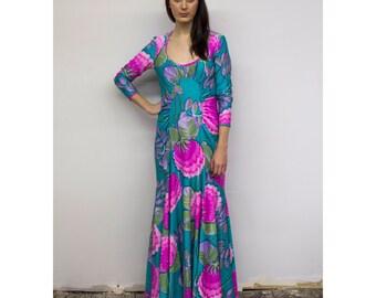 Vintage Tropical Floral Goddess Gown 70s 1970s Stretch Nylon Ruched Aqua & Pink Mermaid Maxi Dress by Robert David Morton M Md Medium