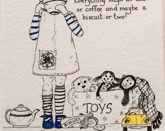 Hand drawn illustration. Cup of tea. Giclee print.  Childrens art prints.  Hand finished. Kids art.