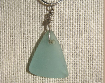 Seafoam Sea Glass Necklace/Pendant/Aqua Green/Sterling Wire/Chain/Jewelry/Urban Boho/Maine