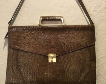 Vintage Bag- Brown Embossed Alligator Leather Briefcase Bag