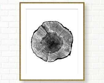 Wood slice Art print, INSTANT DOWNLOAD, Black White, PRINTABLE, Grey, Tree Rings, Modern Wall Art, Cabin, Neutral, Wood grain, Tree Rings