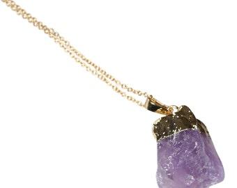 Amethyst crystal necklace amethyst necklace boho jewelry bridesmaid gift february birthstone