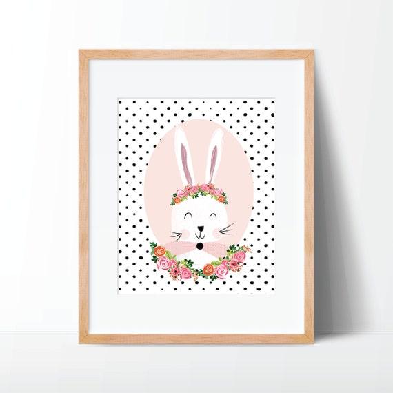 Cute Nursery Wall Decor : Cute bunny nursery decor wall art