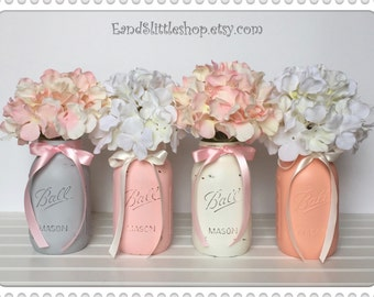 Mason Jars Sets-Wedding Centerpieces-Home Decor-Shabby Chic Decor-Vintage-Mason Jars Centerpiece-Country Decor-White-Pink-Gray-Coral-Peach