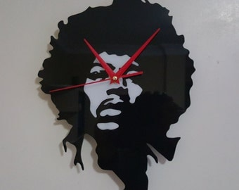 Jimi Hendrix 3D Black and White Silhouette Clock