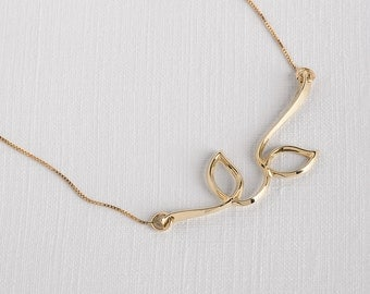 Dainty 14k Necklace, Unique 14k Necklace, Delicate 14k Necklace, Gold Branch Necklace, Gold Leaf Necklace, 14k Gold Pendant, Gold Leaf