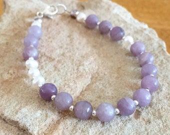 Purple bracelet, lavender stone bracelet, pearl bracelet, gemstone bracelet, sundance style bracelet, sterling silver bracelet, gift for her