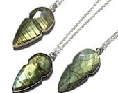 Labradorite Necklace, Arrowhead Necklace, Sterling Silver Labradorite Necklace, Silver Arrowhead Necklace, Labradorite Pendant Necklace