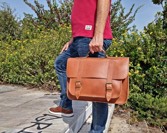 Business Bag, Leather Messenger Bag - 15 inch Laptop Bag. Full Grain Leather - Handcrafted in Greece.