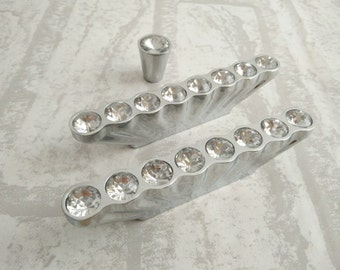 Delightful Glass Dresser Knobs / Crystal Drawer Knobs Pulls Handles Sparkle Clear  Diamond / Silver Cabinet Knobs