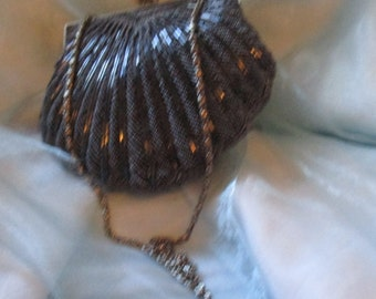 Vintage  Walborg Black, Gray,Glass Beaded Evening Bag with Gold Tone Metal Chain