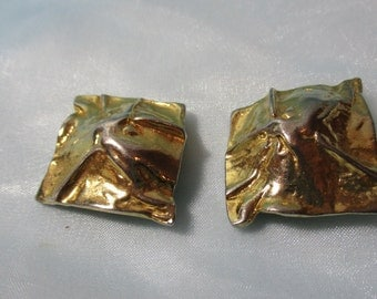 Large Square Gold Tone Metal Clip on Earrings