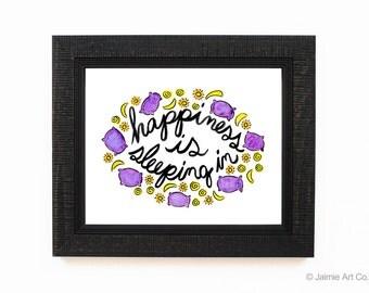 Happiness Art Print - Sleeping In, Wall Decor, Frameable Art, Wall Art, Home Decor, Happy Art, Sleeping In Art Print, Sleeping Art