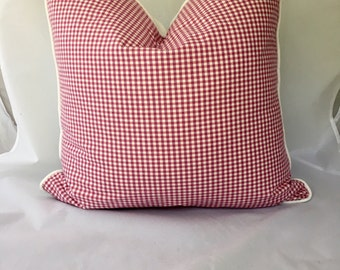 Fuchsia Magenta Checked 20 x 20 Feather Down Decorative Pillow Throw Pillow with Contrasting Back and Cording
