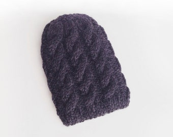 Baby Alpaca Hat, Baby Alpaca Beanie hand knitted, Hat Hand Knitted, Winter Hat for her, Eco friendly Clothing, Black Hat 100% Baby Alpaca