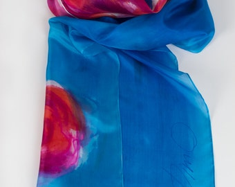 Olympian blue scarf hand painted. Hand painted silk scarf. Summer fashion long scarf. Floral handpainted scarf. Abstract painting on silk