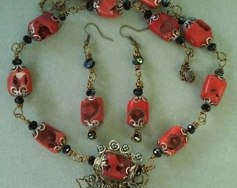 "Handmade, Coral Necklace Set-  Crystal, Bronze, Silver, Design,  Collared Necklace (20.5"")/Earrings (2.5"")"