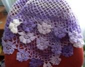 Delicate shawl Knitted crochet baktus Floral baktus Lilac Backtus Soft shawl Warm wrap Winter accessory Crochet lace shawl Shawl-Backtus