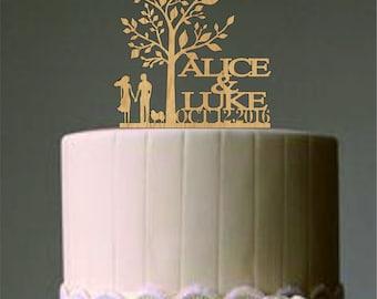 Personalized custom wedding cake topper, Rustic cake topper, Unique wedding cake topper, Bride and Groom wedding cake topper, finally