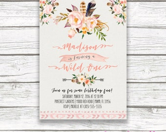 Wild One Birthday Invitation, Boho Birthday Invitation, Girl First 1st Birthday Invite, Feather Tribal Arrow Printable Birthday Party Invite