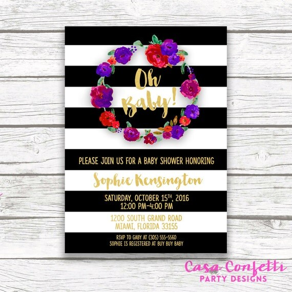 Oh baby black and white striped gold foil baby shower invitation il570xn filmwisefo