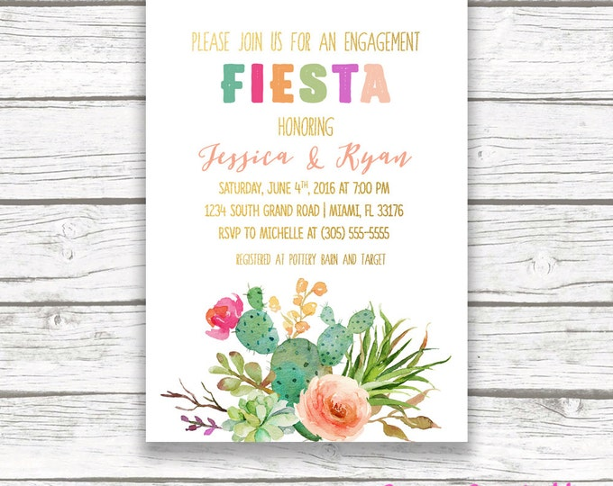 Engagement Party Invitation, Fiesta Engagement Party Invitation, Cactus Invitation, Mexican Cinco de Mayo Invitation, Succulent Invite
