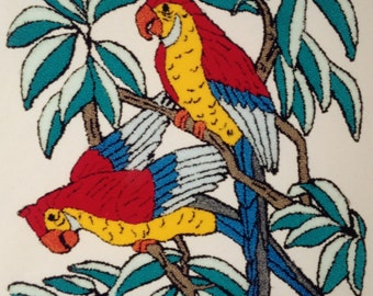 British Made Parrots Punch Needle Embroidery Kit By Webster's