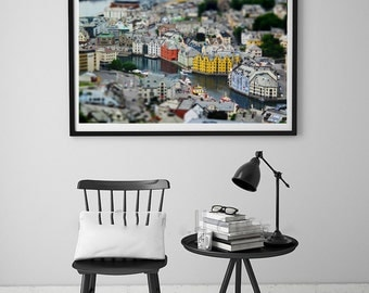 Norway Print, Norway Poster, Norwegian Wall Art, Norway Photography, Tilt shift, Norwegian Photographs, Norway City Art, Alesund, Home Decor