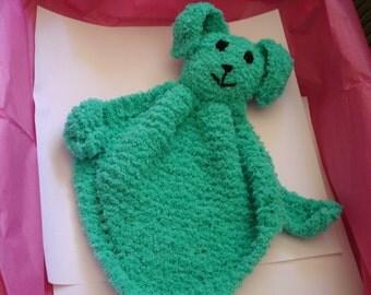 Cuddle Bunny done in Green Chenille Yarn