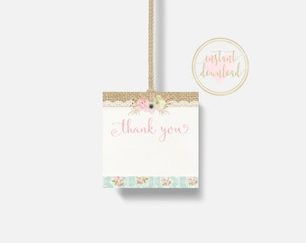 Shabby Chic Thank You Tags, Favor Tags, Gift Tags, Baby Shower, Bridal Shower, Birthday, INSTANT DOWNLOAD, Shabby Chic Tags, Vintage, Pink