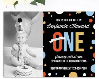 Boys First Birthday Invitation, First Birthday Invitation, Boys Birthday Invitation, 1st Birthday Invitation, Printable Invitation w Photo