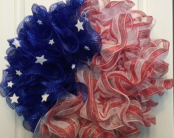 Fourth of July Wreath, Patriotic Wreath, deco mesh wreath, Red White and Blue wreath