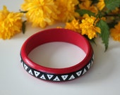 Aztec hand-painted bangles. Handpainted wooden bracelet with black, white and ruby Maya pattern.