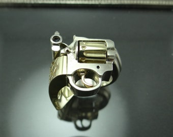 Gun Ring- 14K Two Tone Gold Men's Revolver Ring- Handmade 14K Two Tone Men's Gun Ring- Men's Pistol Ring- Solid 14K Gold Gun Enthusiast Ring
