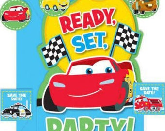 Cars 1st Birthday Champ Invitations w/ Envelopes, Save the Date & Seals 8ct