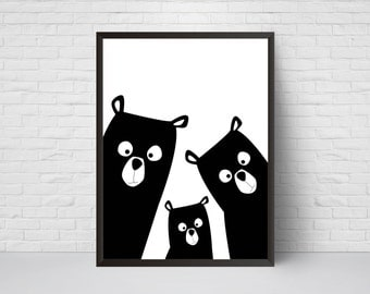 Bear art etsy for Minimal art family