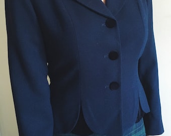 Vintage Navy Cropped Blazer with Scalloped Velvet Insets