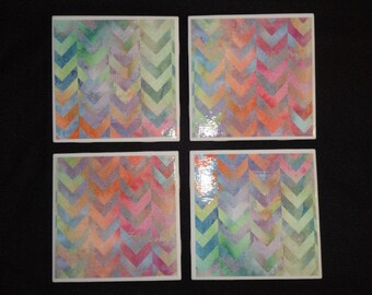 Chevron Watercolor Coasters