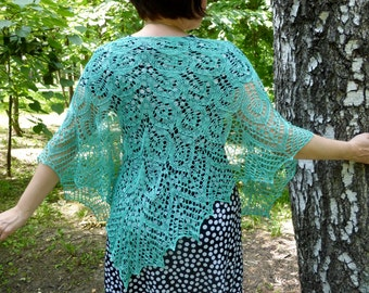 Turquoise Silk Lace Shawl. Knitted Shawl. Hand Knitting. Made To Order