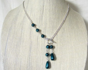 Blue Teal Glass Pearl Asymmetrical Necklace, Toggle Clasp Necklace, Winter Wedding Bridesmaids Necklace