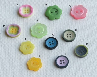Flower Shaped Button | Carved Flower Buttons | Round 4 holes Buttons