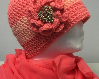 CORAL...Crocheted Women's Hat
