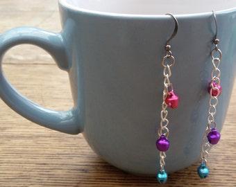 Bi pride bell chain earrings - pink, purple and turquoise bells on chain - dangly / drop earrings - LGBTQIA bipride colours - gunmetal tone