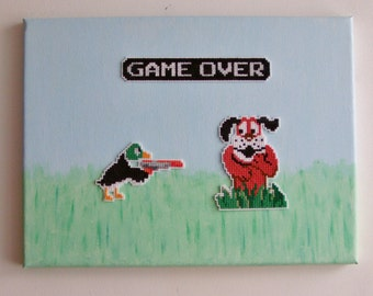 Duck Hunt Revenge Pixel Art on Canvas