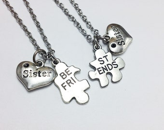 set of 2 sister necklace - jigsaw necklace - best friend necklace - bff - friendship - gift