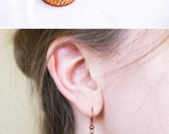 Disco earrings African earrings Polymer clay Birthday gift Dangle Drop earrings Red earrings with gold foil Layered earrings Round earrings